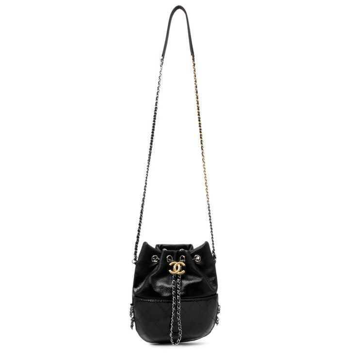 Chanel Quilted Patent Goatskin Small Gabrielle Bucket Bag