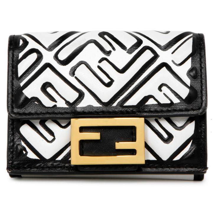 Fendi X Joshua Vides White/Black Nappa FF Embossed Micro Trifold Wallet