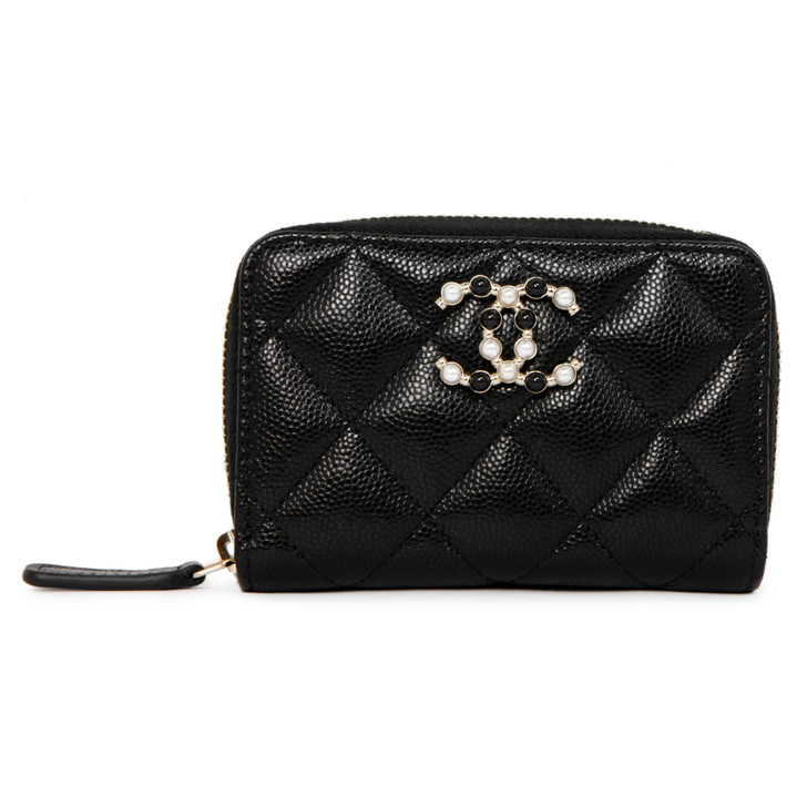 Chanel Black Quilted Caviar Pearl Coco Candy Zip Coin Purse