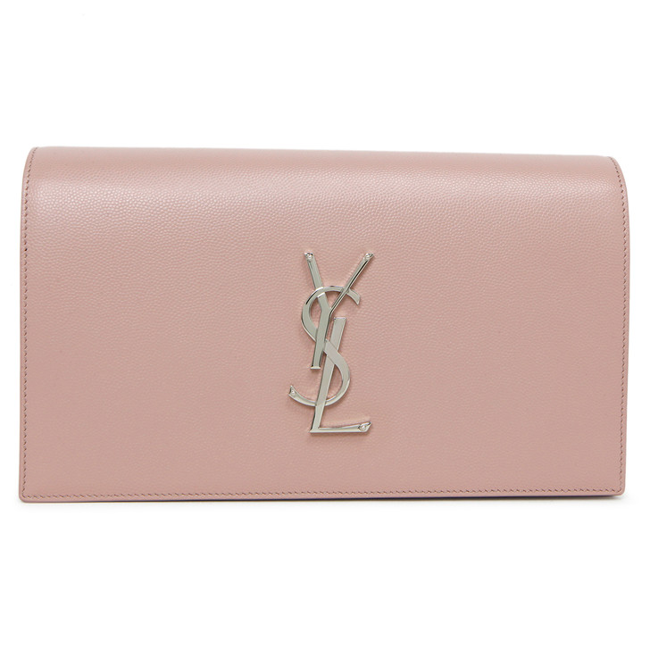 Saint Laurent Pink Grain De Poudre Classic Kate Monogram Clutch