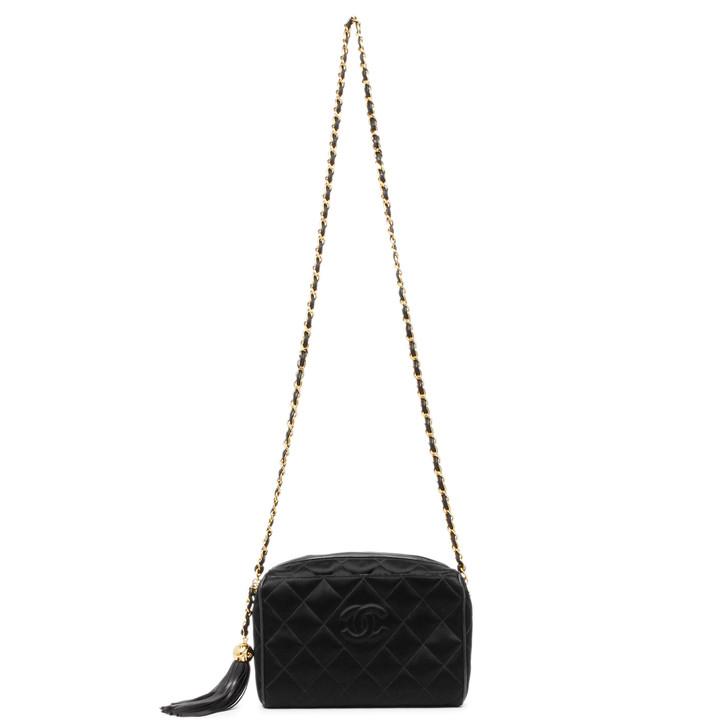 Chanel Vintage Black Quilted Satin Tassel Camera Bag