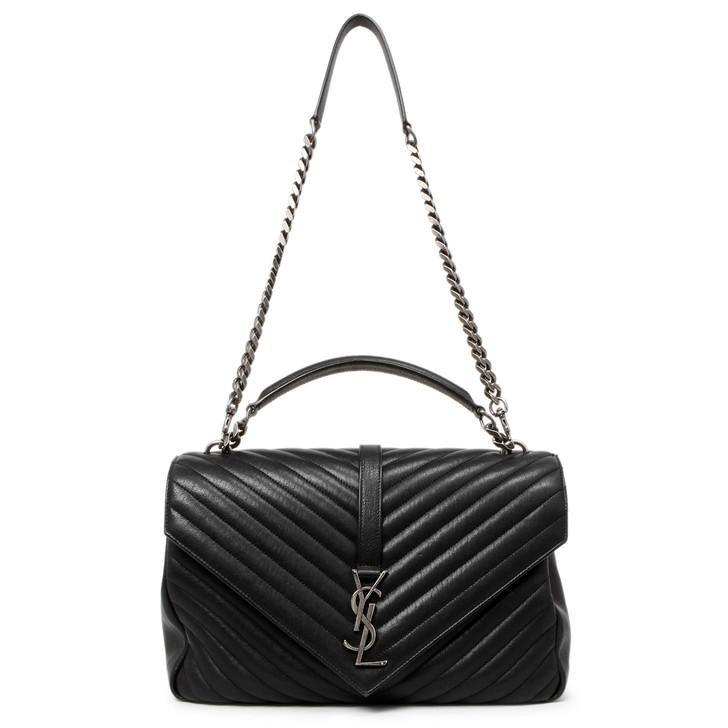Saint Laurent Black Matelasse Chevron Sheepskin Large College  Bag