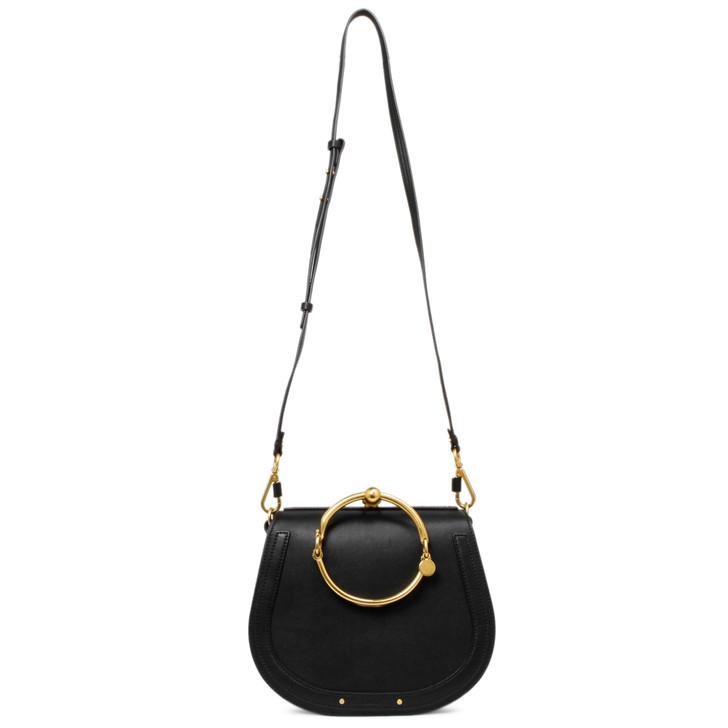 Chloe Black Calfskin/Suede Medium Nile Bracelet Bag