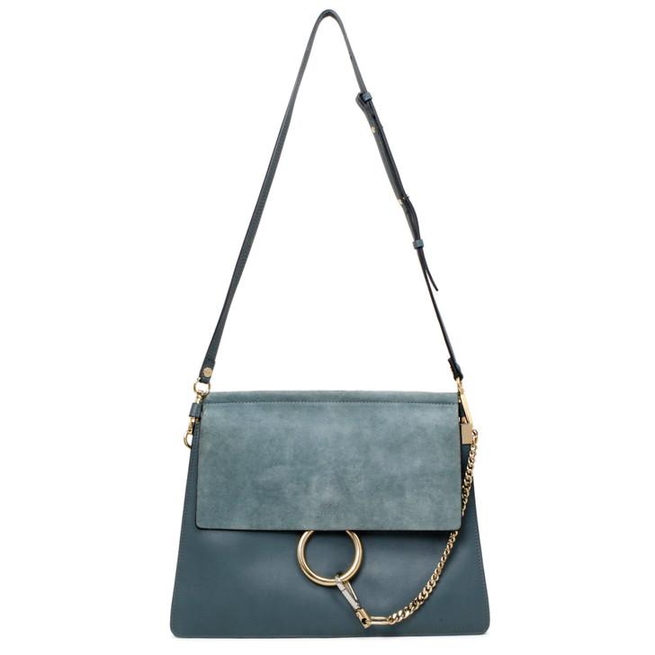 Chloe Blue Suede & Calfskin Medium Faye Shoulder Bag