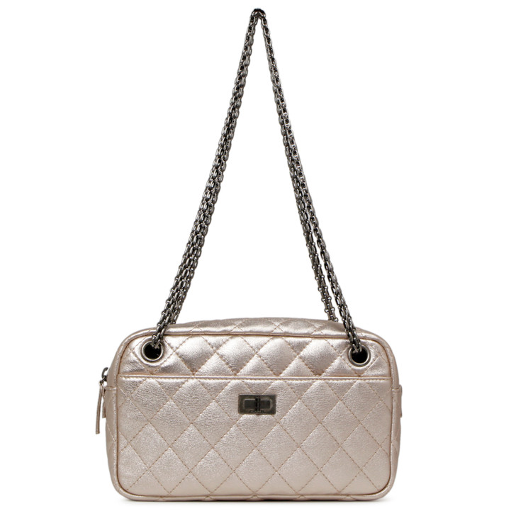Chanel Metallic Light Pink Quilted Calfskin Small Reissue Camera Case