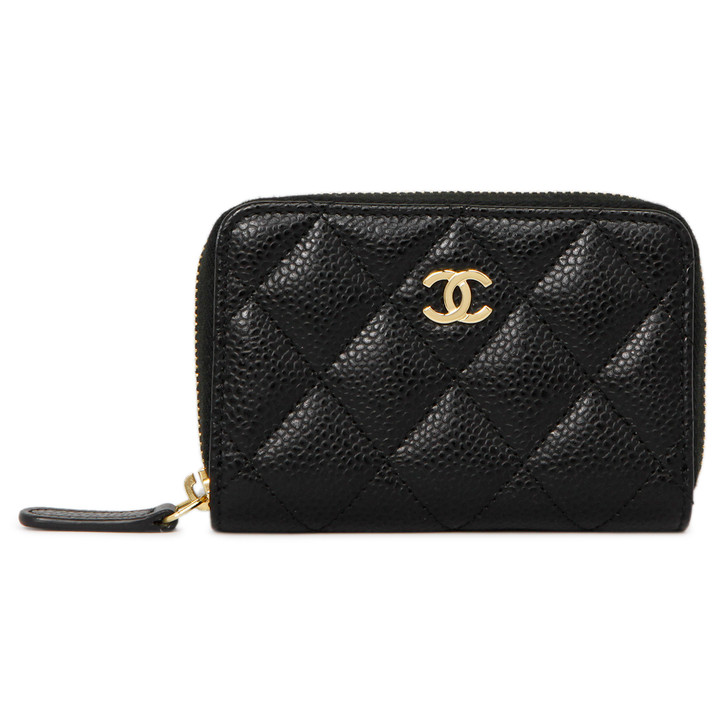 Chanel Black Quilted Caviar Zipped Coin  Purse