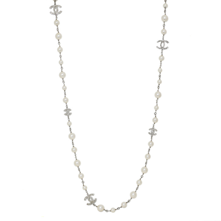 Chanel  Crystal CC & Pearl Necklace