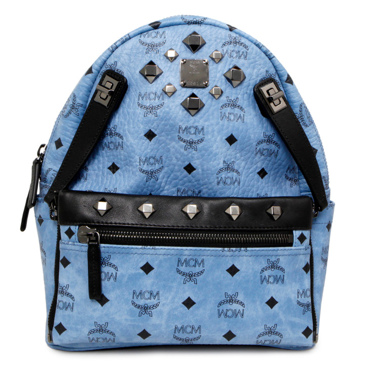 MCM Blue Visetos Canvas Studded Small Dual Stark Backpack