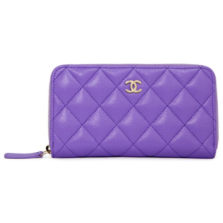 Chanel Purple Caviar Medium Zip Around  Wallet