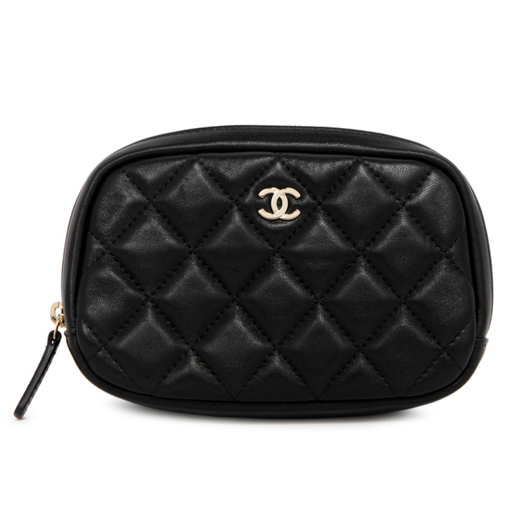 Chanel Black Quilted Lambskin Small Curvy Cosmetic Pouch