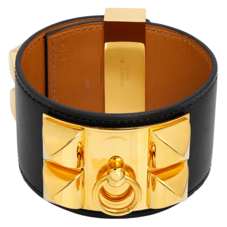 Hermes  Black Box Calfskin Collier de Chien CDC Bracelet
