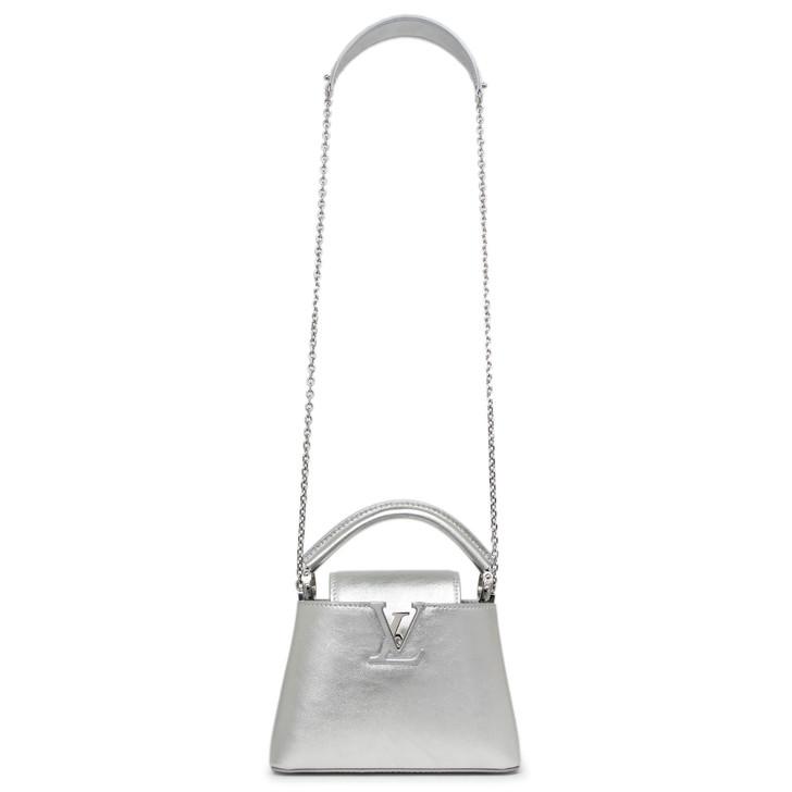 Louis Vuitton Silver Lambskin Capucines Mini