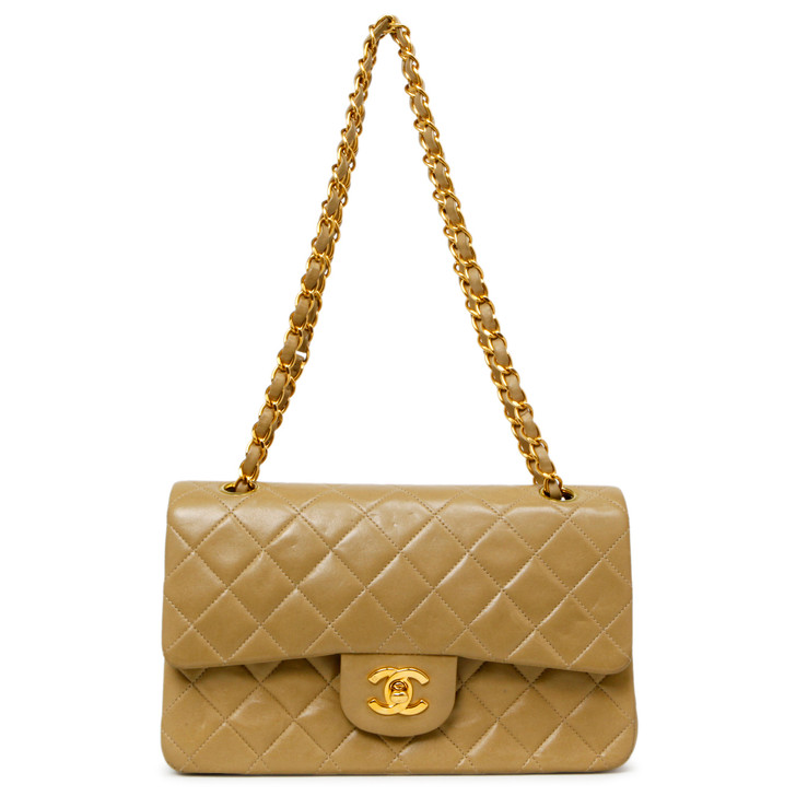 Chanel Vintage Dark Beige Quilted Lambskin Small Classic Double Flap
