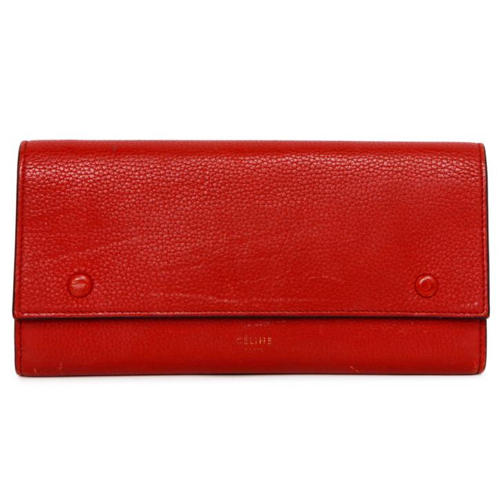 Celine Red Drummed Calfskin Large Multifunction Flap Wallet