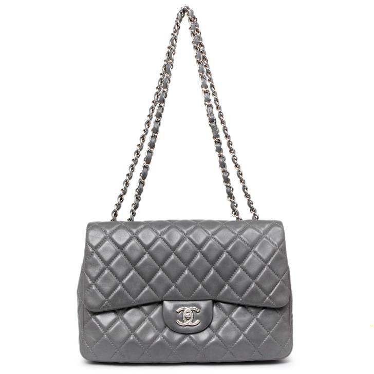 Chanel Grey Quilted Lambskin Jumbo Single Flap