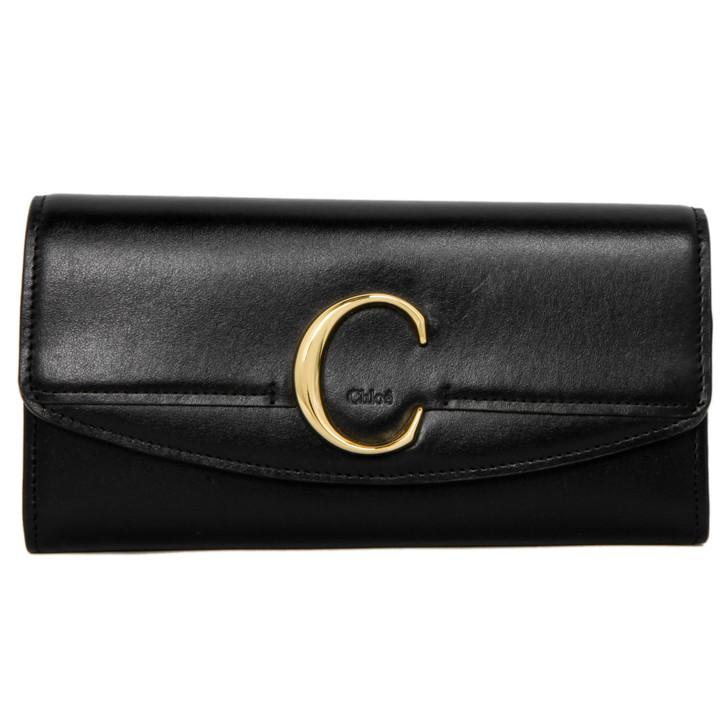 Chloe Black Calfskin C Long Wallet