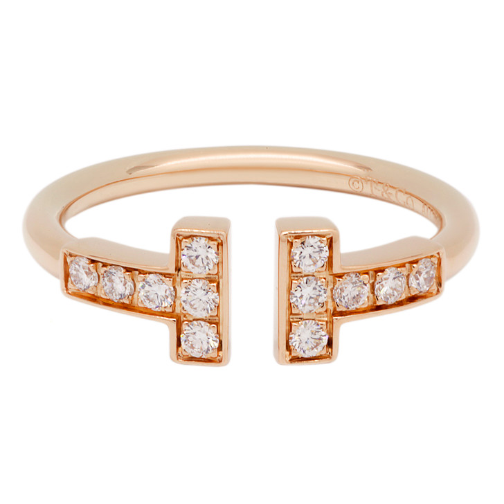 Tiffany & Co. 18K Rose Gold & Diamond T Wire Ring