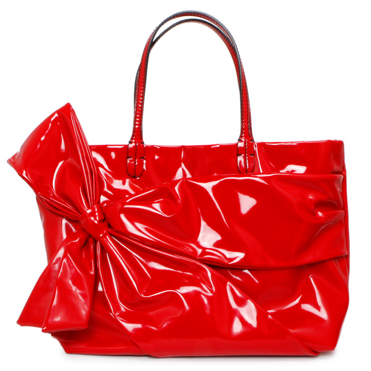 Valentino Red Patent Bow Tote