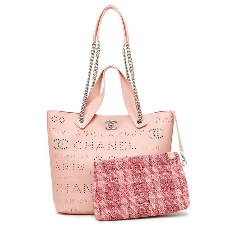 Chanel Pink Calfskin Small Logo Eyelet Tote