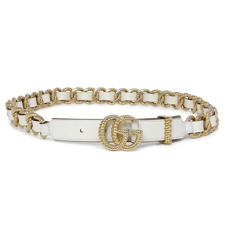 Gucci White Calfskin Torchon Double G Chain Belt
