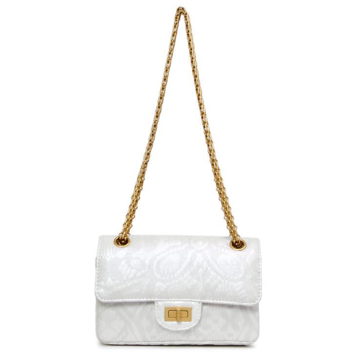 Chanel White Iridescent Lambskin Flower 2.55 Reissue Mini Flap