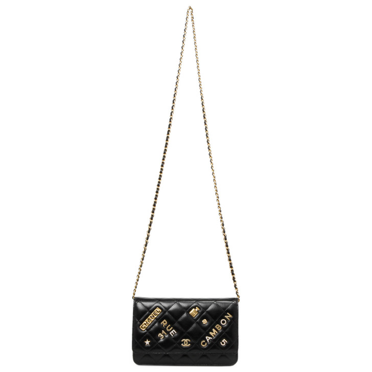 Chanel Black Quilted Lambskin 31 Rue Cambon Charms Wallet on Chain