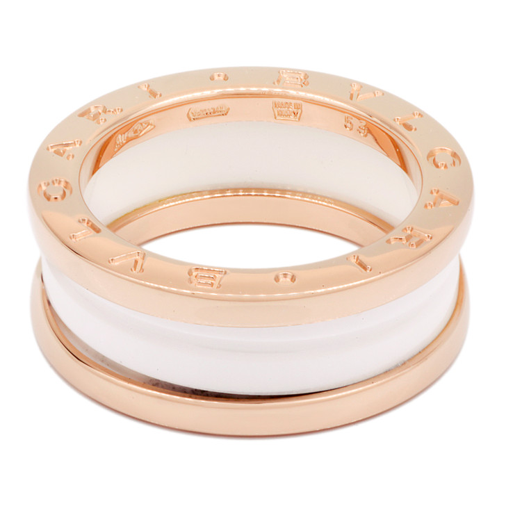 Bvlgari 18K Rose Gold & White Ceramic B.Zero1 Two-Band Ring