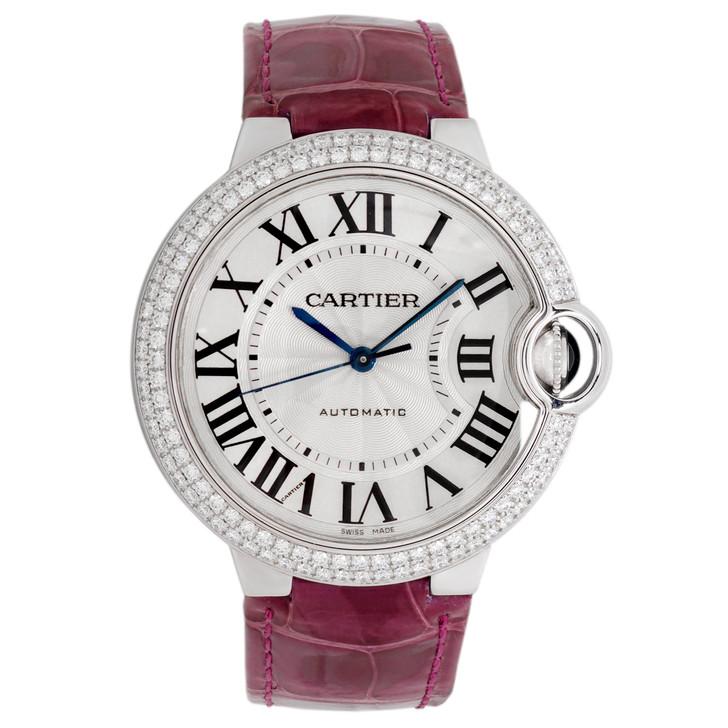 Cartier 18K White Gold Diamond Ballon Bleu 36mm Automatic Watch WE900651