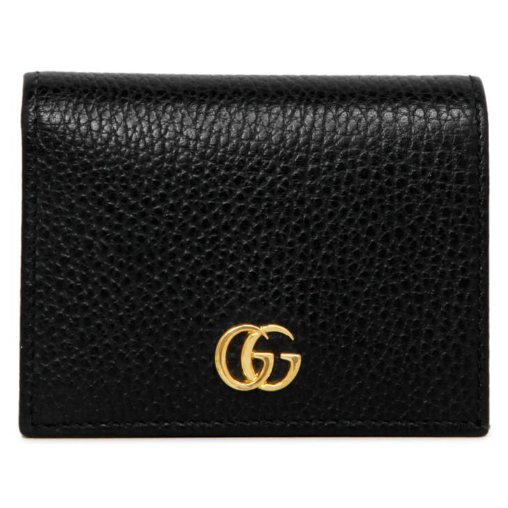 Gucci Black Pebbled Calfskin GG Marmont Card Case Wallet