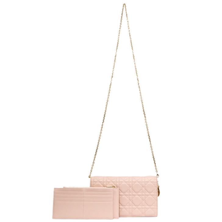Christian Dior Light Pink Cannage Lambskin Lady Dior Clutch