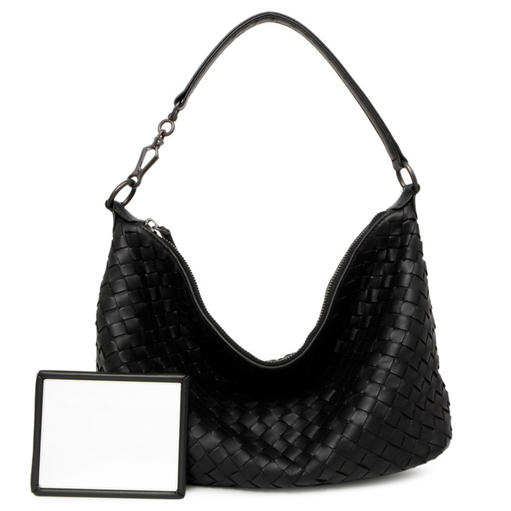 Bottega Veneta Black Nappa Intrecciato Small Shoulder Bag
