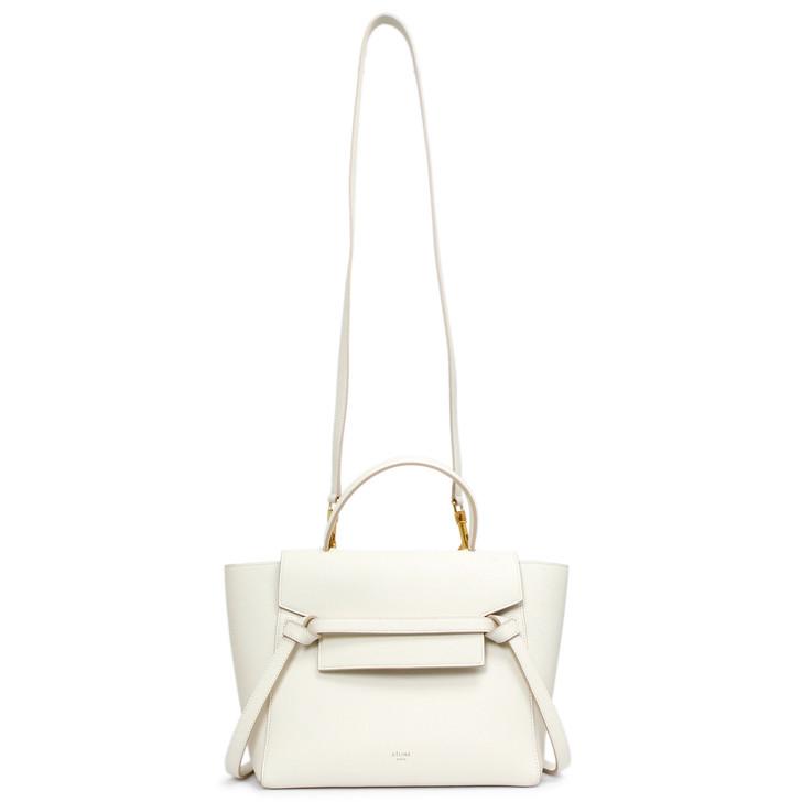 Celine White Grained Calfskin Micro Belt Bag