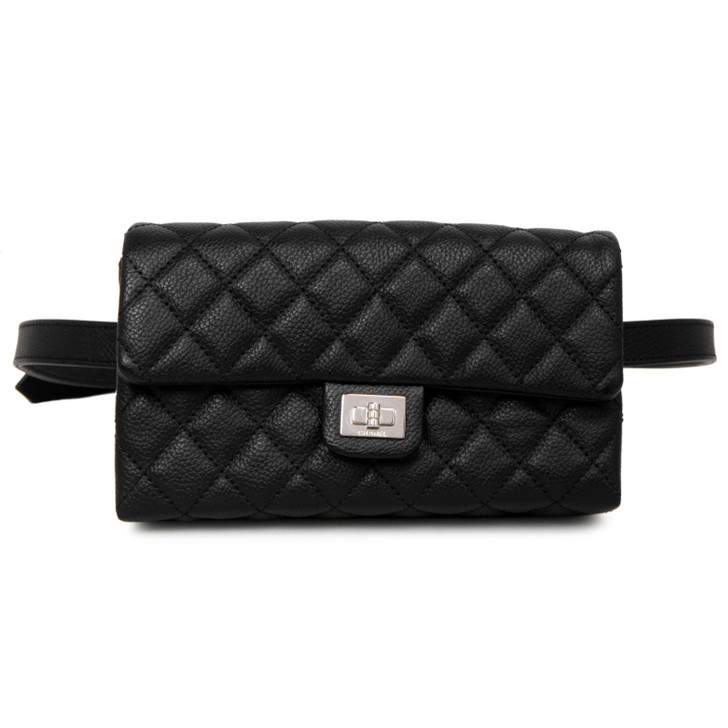 Chanel Black Grained Calfskin Quilted 2.55 Reissue Flap Belt Bag