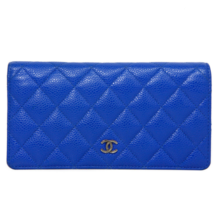 Chanel Blue Quilted Caviar Yen Wallet