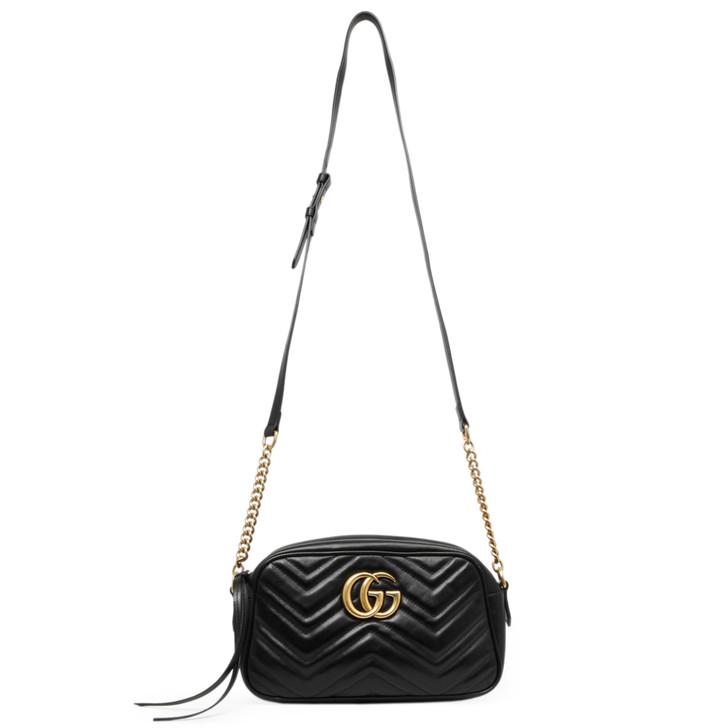 Gucci Black  Calfskin Matelasse Small GG Marmont Chain Shoulder Bag