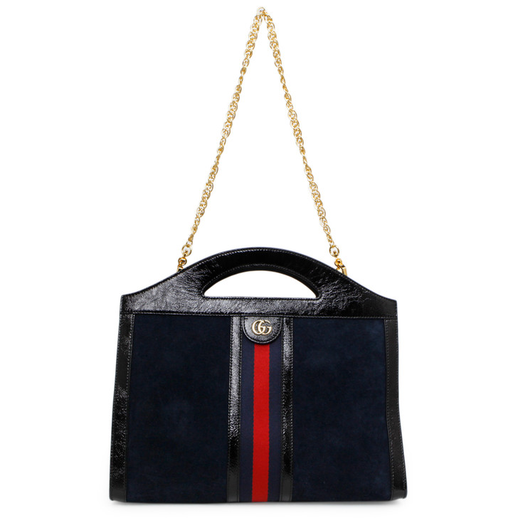Gucci Navy Suede Patent GG Web Medium Ophidia Top Handle Chain Bag