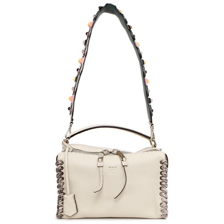Fendi Ivory Calfskin/Snakeskin Romano Selleria Lei Boston Bag With Plexiglass Flower Studded Strap You