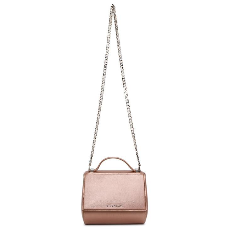 Givenchy Rose Gold Calfskin Mini Pandora Box Chain Crossbody