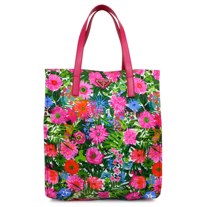Prada Pink Dis Primule Tessuto Stampato Floral Print Tote