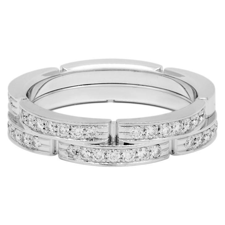 Cartier 18K White Gold Diamond Maillon Panthere Band Ring
