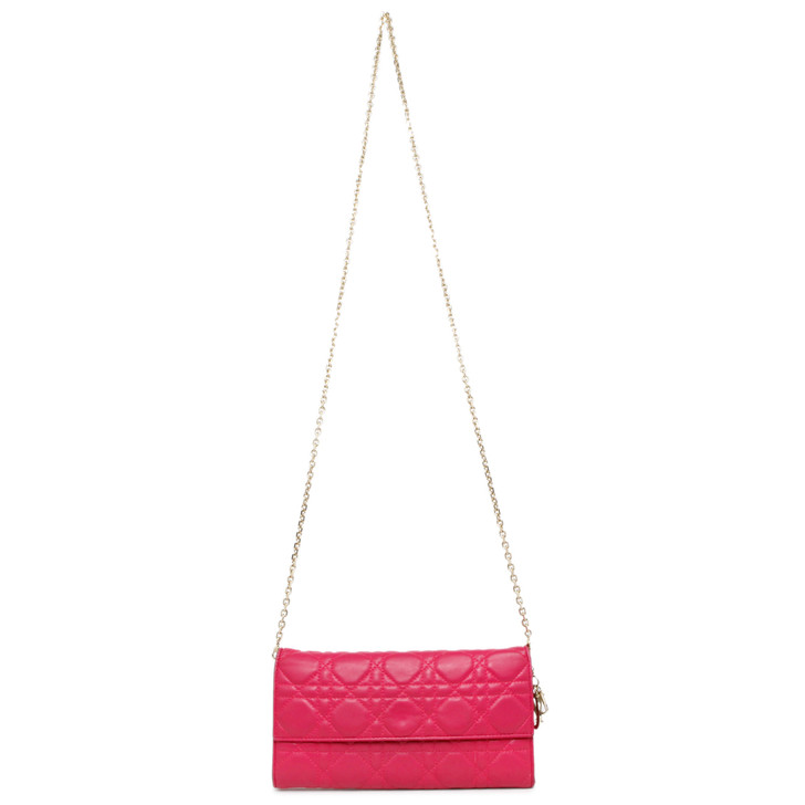 Christian Dior Fuchsia Cannage Lambskin Lady Dior Rendezvous Wallet on Chain