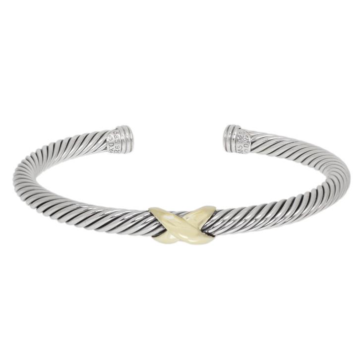 David Yurman Sterling Silver & 14K Yellow Gold X Station 5mm Cable Bracelet