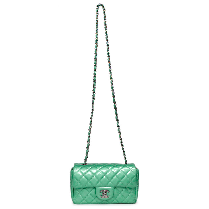 Chanel Green Quilted Patent Mini Rectangular Flap