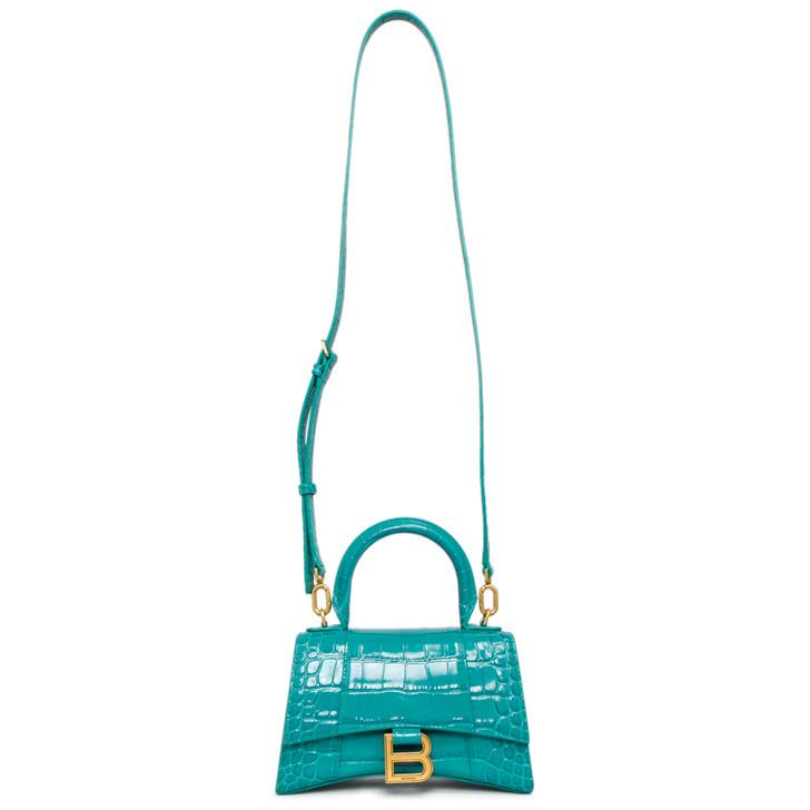 Balenciaga Dark Turquoise Shiny Calfskin Crocodile Embossed Hourglass Top Handle Bag XS
