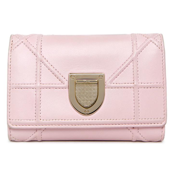 Christian Dior Pink Calfskin Cannage Diorama Elancee Wallet