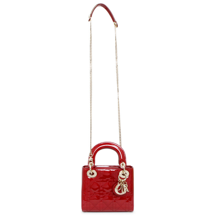 Christian Dior Red Patent Cannage Mini Lady Dior