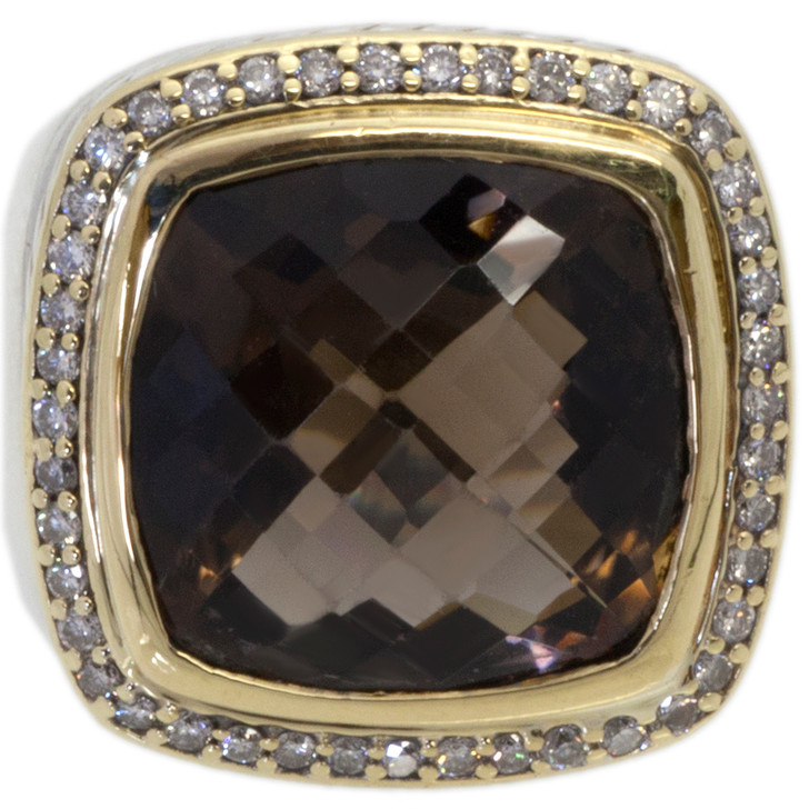 David Yurman Albion Sterling Silver & 18k Yellow Gold, Diamond & Smokey Quartz Ring