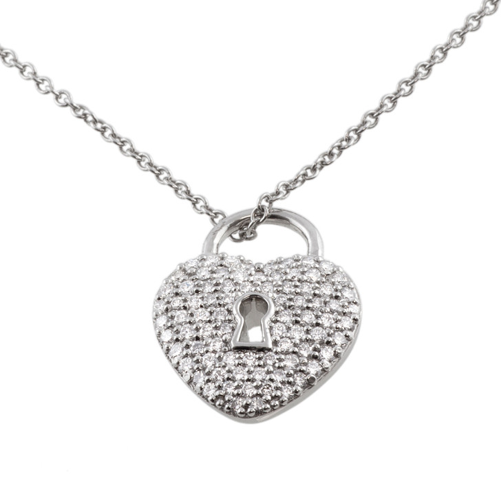 Tiffany & Co. Platinum & Diamond Heart Lock Pendant