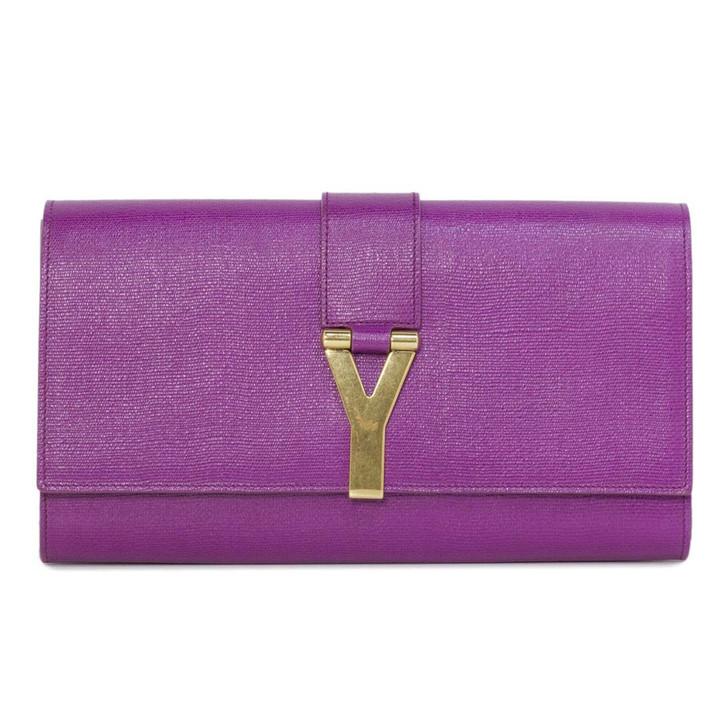 YSL Saint Laurent Purple Textured Calfskin Classic Y Clutch