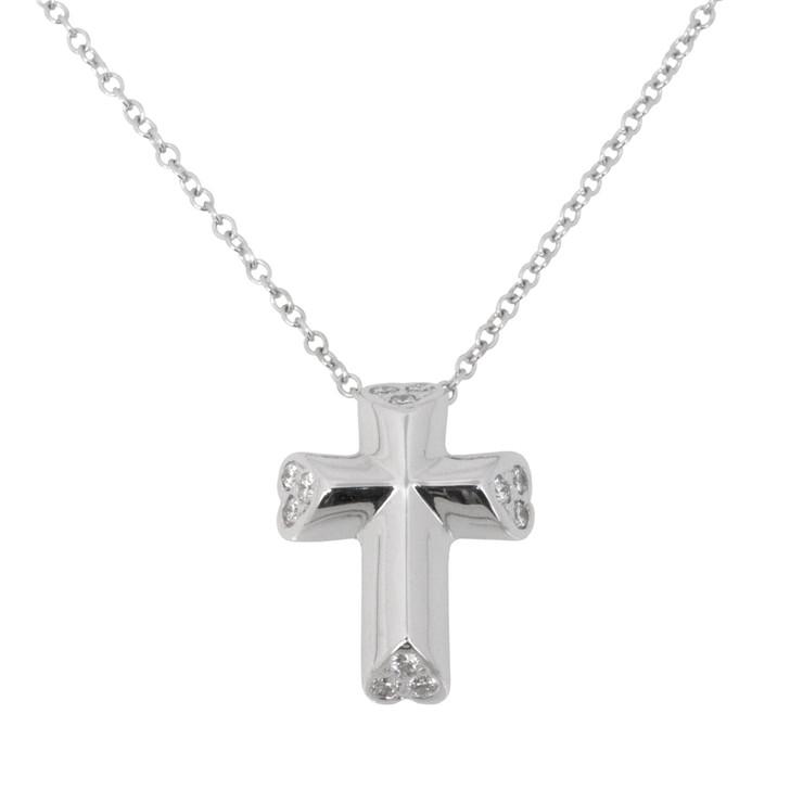 Tiffany & Co. 18K White Gold & Diamond Tenderness Heart Cross Pendant